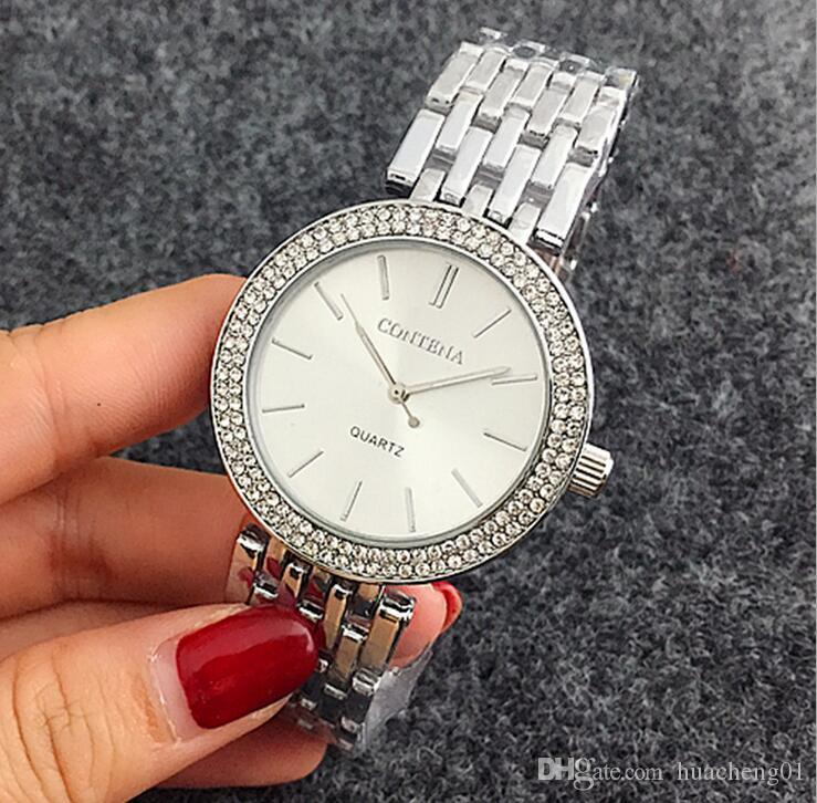 Luxury Contena Diamond Watch Stainless Steel Crystal Wristwatches Fashion Strip Quartz Watches colors by DHL