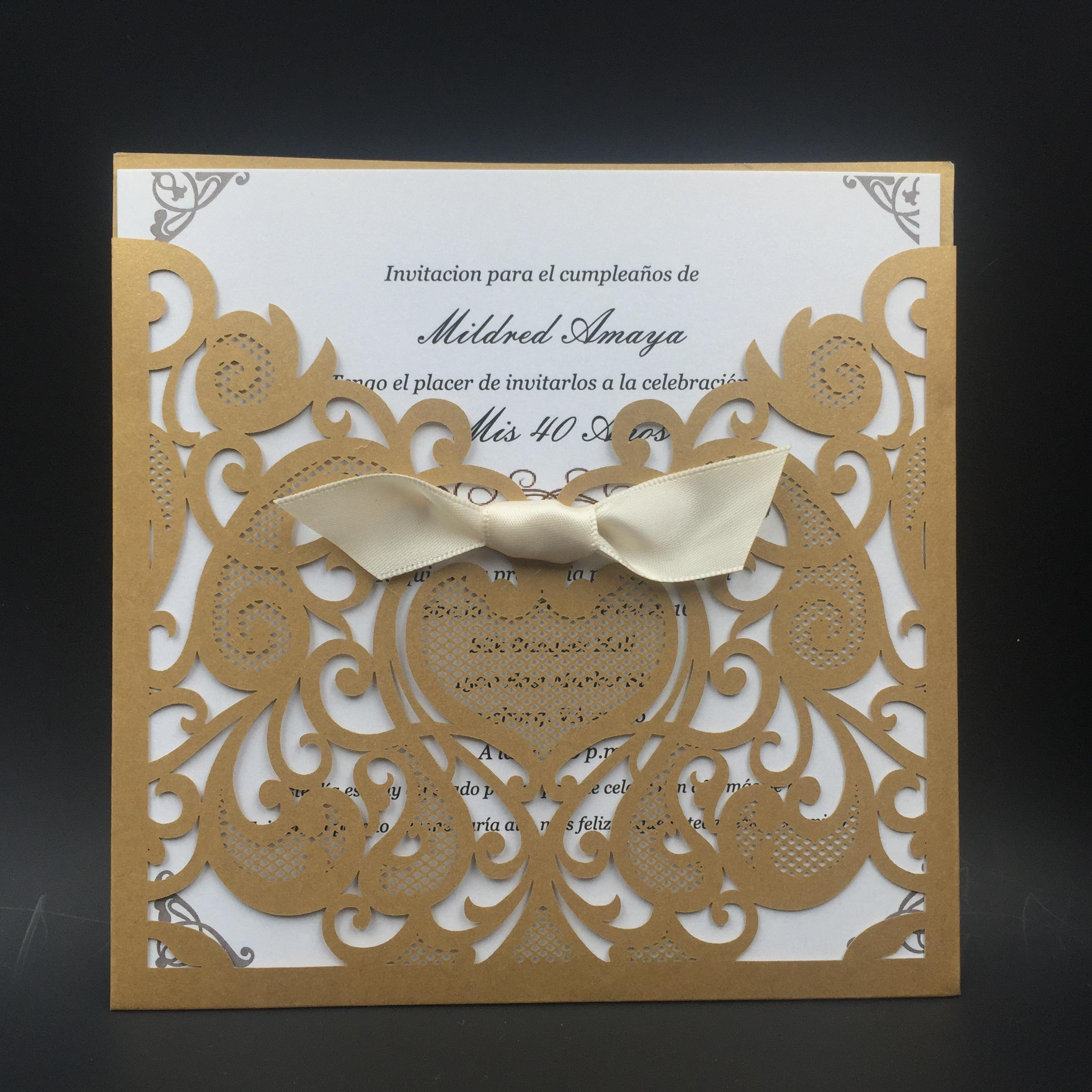 Hot sale new design gold purple ribbon wedding invitations cards hot sale new design gold purple ribbon wedding invitations cards hollow out laser cut greeting cards via dhl shipping free cool wedding invitations design kristyandbryce Image collections
