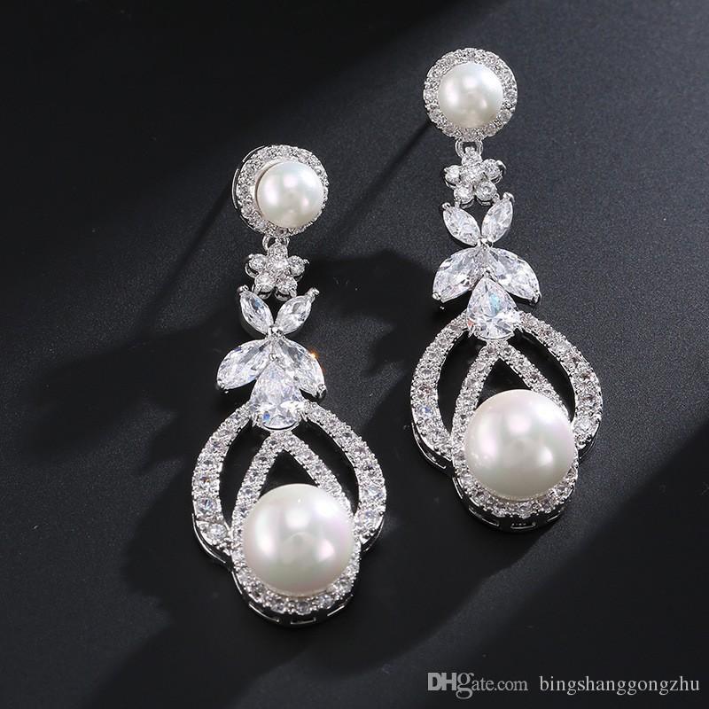 Grosshandel Vintage Perle Hochzeit Ohrringe Weisse Perle Brautjungfer