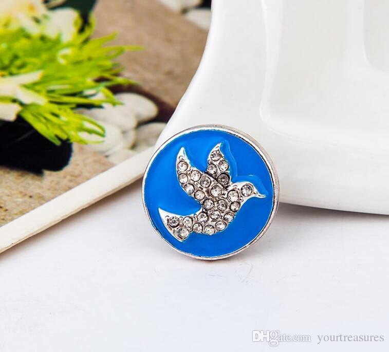 Pombo Snap Encantos da moda pássaro enamal strass Snap botão Para vestuário das mulheres botões de Metal Snap Botão Charme Fit Pulseiras NOOSA pedaço