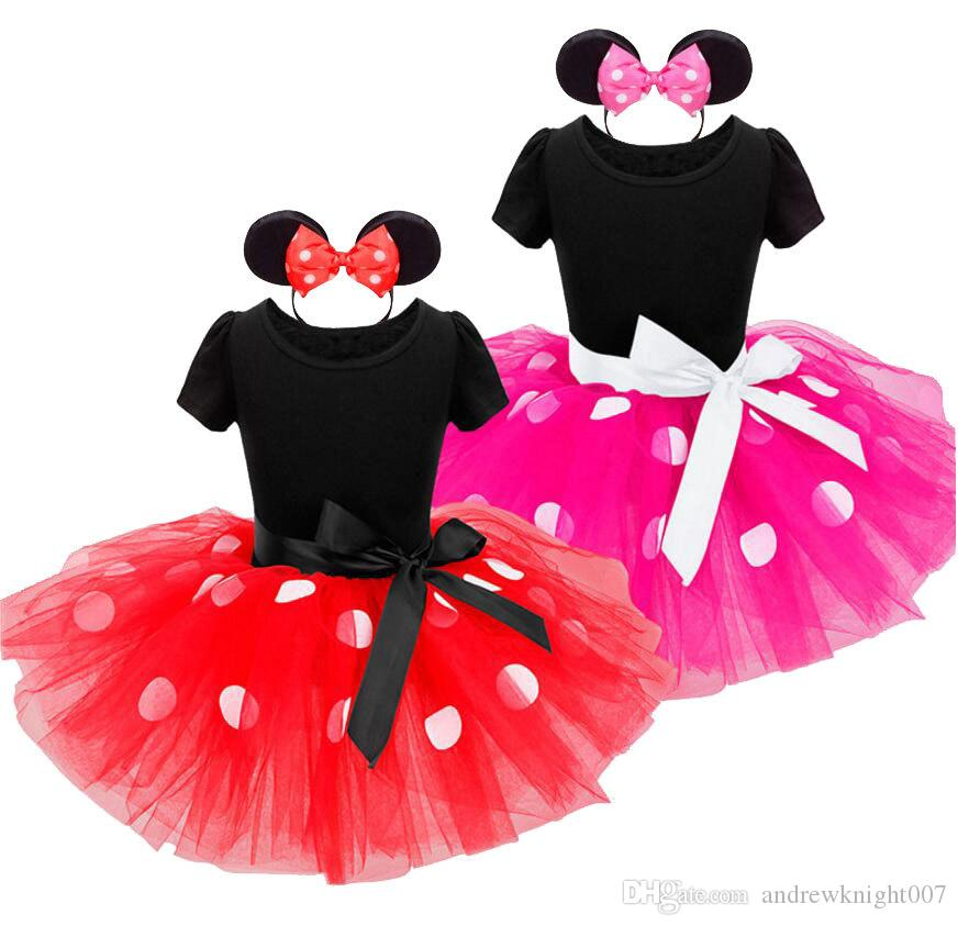 New Years kids Ballet dress Princess Party Costume Infant Clothing Polka Dot Baby Clothes Birthday Christms Girls tutu dress Head band 1034C