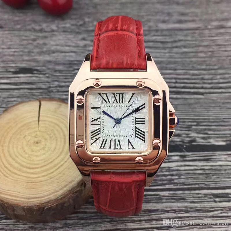 Ouro Casual mulheres relógios de luxo 32mm Dial Square pulseira de Couro vestido de quartzo relógio de pulso para senhoras menina feminina melhor presente Montre Femme