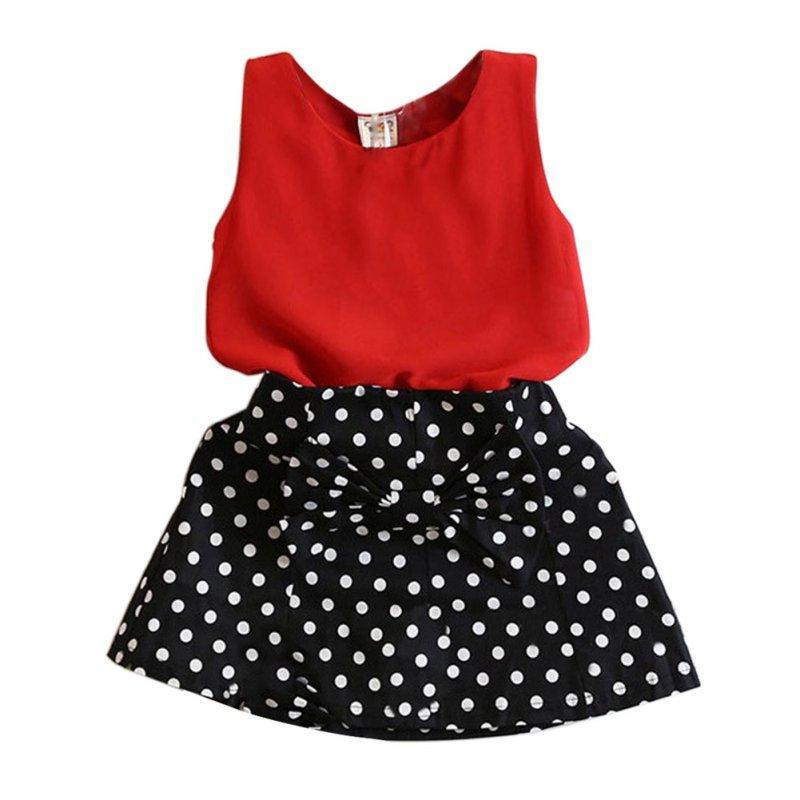e5d726403d5 2019 Wholesale Summer Kids Baby Girl Clothing Set Sleeveless Chiffon  Tops+Polka Dot Bowknot Mini Skirts From Vanilla14