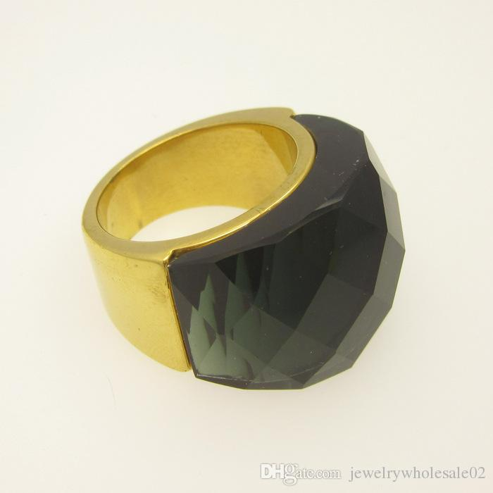 Foreign trade selling authentic stainless steel glass half a pack of large stone ring female models and titanium rings
