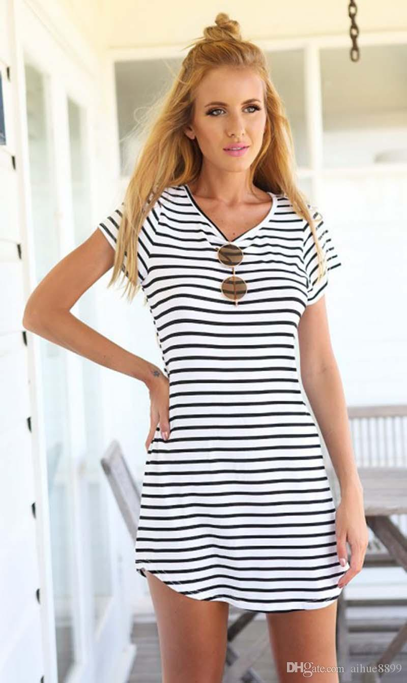 Lowest Price Dress Women summer Sleeveless Spring Mini Striped Summer Beach Holiday Stripe Dress Summer Dresses Casual vestidos