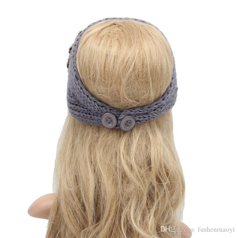 Women Fashion Hair Jewelry Wool Crochet Headbands Knit Hair bands Flower Winter Ear Warmer Wool hair bands