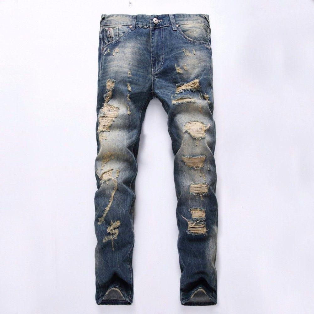Classic men slim jeans for Torn Pants Men Denim Male ...