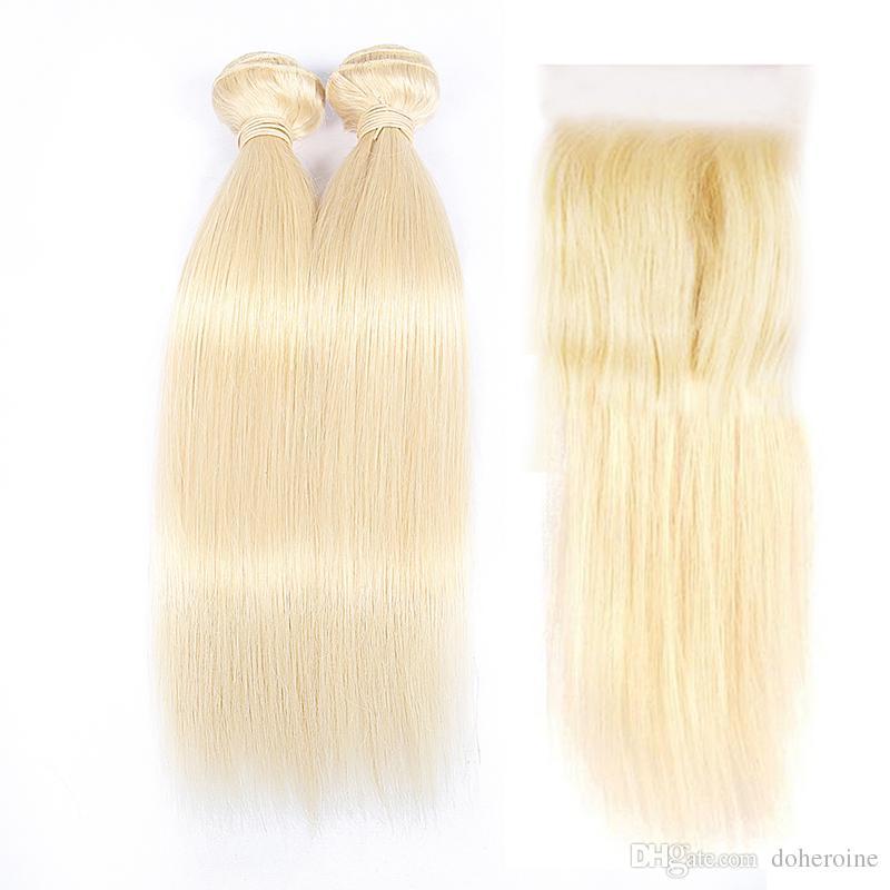 DOHEROINE Hair 613 Straight Virgin Hair 2 Bundles With Lace Closure Roots Blonde Brazilian Human Hair Weaves With 4*4 Lace Closure
