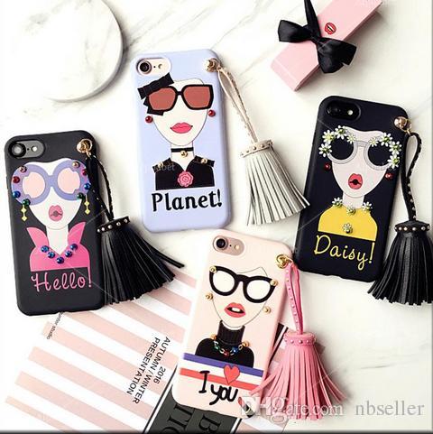 TPU-coreano Estilo Rivet borlas pendentes para o iPhone 7 7plus 6 6s 6plus macio TPU volta caso Funda Moda óculos de sol da pintura da menina