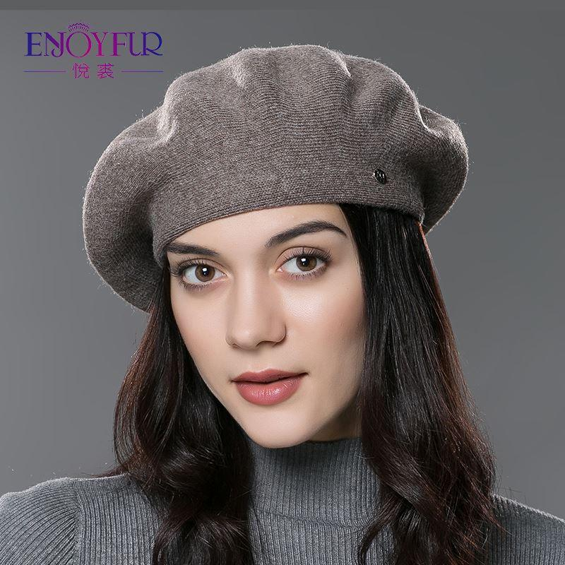 5eadf5f8363 ENJOY FUR Lady Beret Hat for Winter Knitted Cotton Hats with Lining 2017  Brand New Arrival Good Quality Hat for Women High Quality Beret Hat China  Hat Store ...