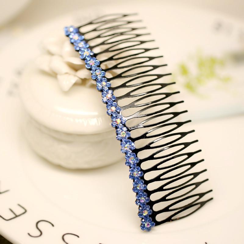 Mujer tocado Cabello Colorido a cuadros joyas peine peinados flequillo de pelo Diamante de imitación coreano con clip de diente S0053