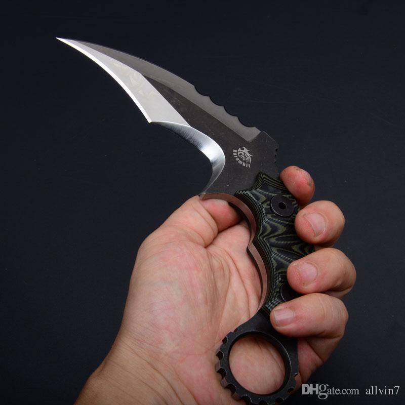 El envío de la gota Un Fabricación de Karambit del cuchillo de la garra Ds G10 de la lámina de satén de la manija exterior de excursión que acampa de supervivencia Cuchillos Tacticak