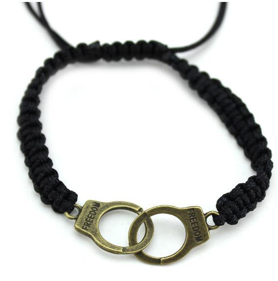 Mode Handschellen Armband Seil Armbänder handgemachte Vintage Charme Armbänder mit 2 Farben gutes Geschenk für Paare