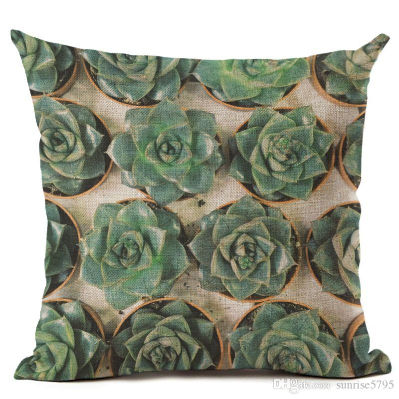palm leaf cushion cover nature plant couch chair throw pillow case foliage almofadas 45cm square decorative cojines for home