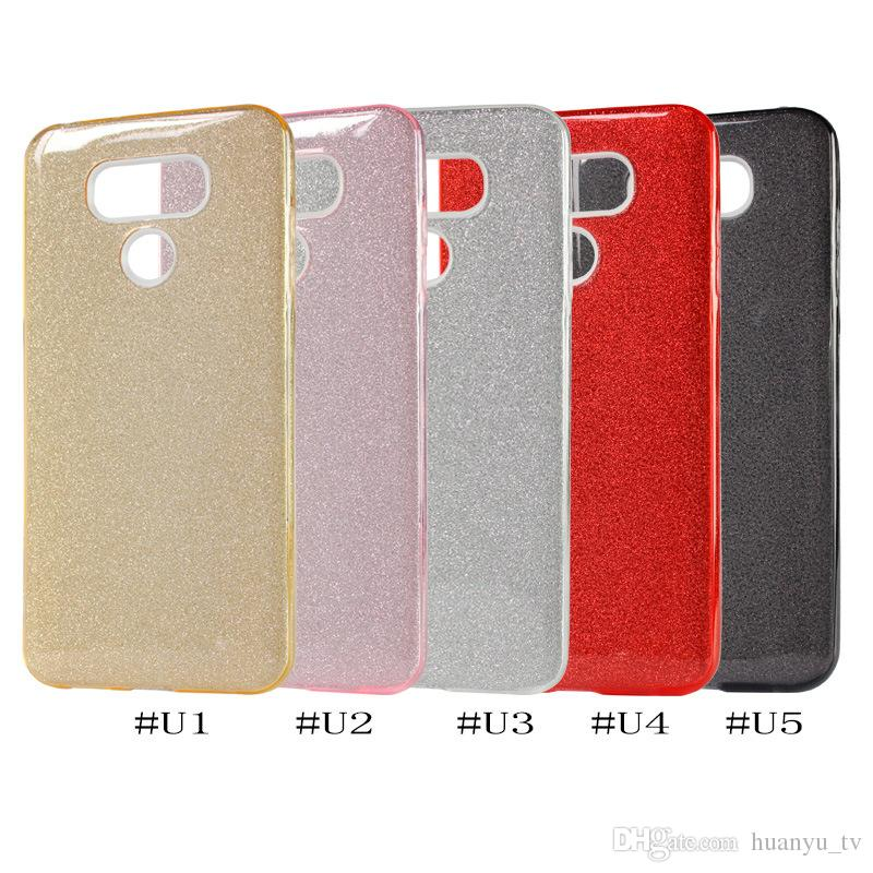 Glitter Bling phone case For MOTO E4/Alcatel A30 Fierce 5049 LG Aristo 2 K10 2018 TPU+PC+Sticker 3 in1 Anti-Fall Cell Phone Case