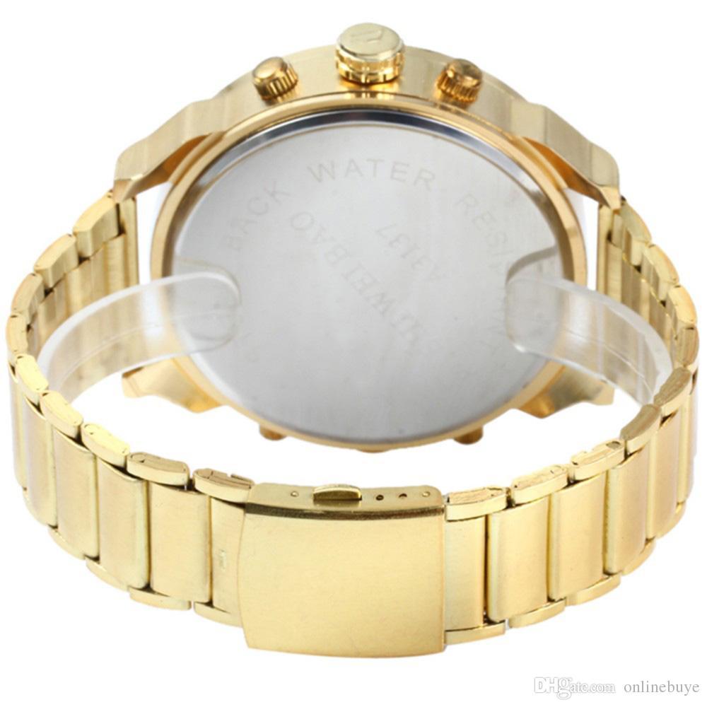 Goldene neue Uhr-Goldart und weise-Mann-Uhr-Edelstahl-Quarz-Uhr-Armbanduhr-Großverkauf SHIWEIBAO Luxusmänner-Uhr-Tropfen-Verschiffen