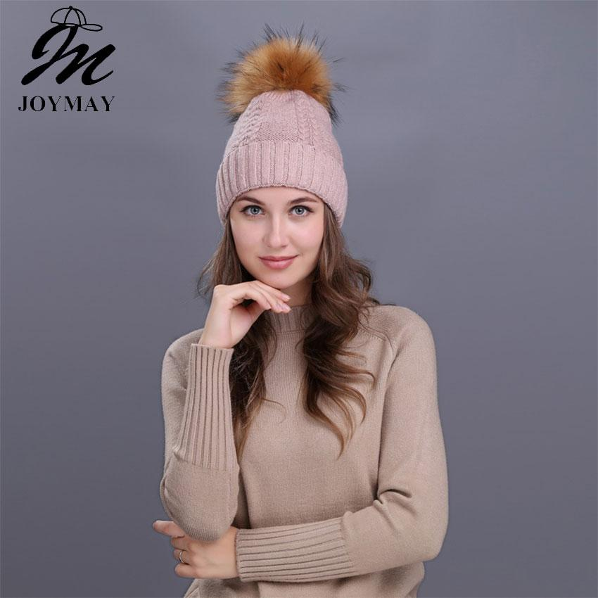 5afb0d1cf66 Joymay Winter Pompom Beanies for Women Solid Color Hat Lady Plain ...