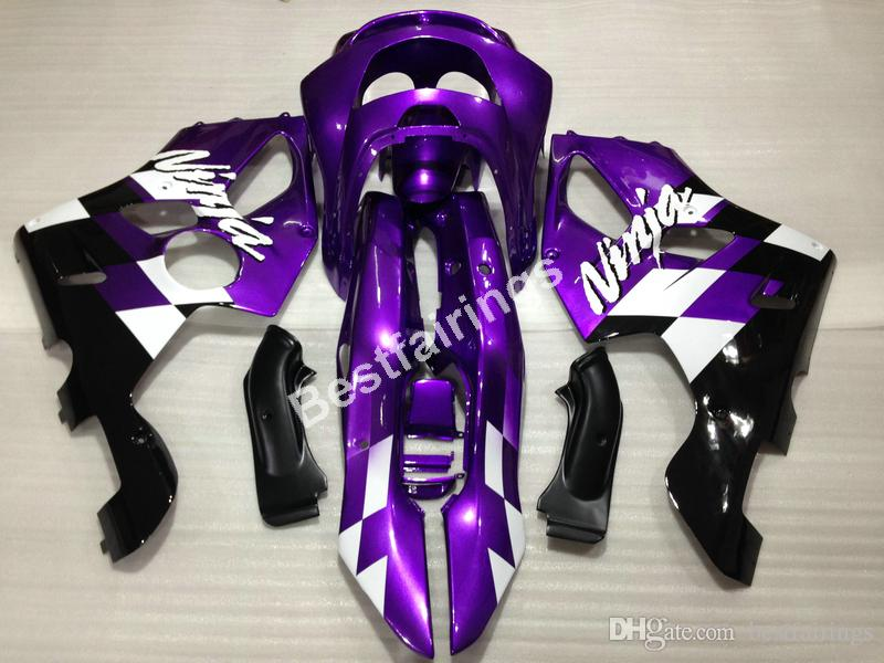 High quality plastic fairing kit for Kawasaki Ninja ZX6R 1994-1997 purple black fairings set ZX6R 94 95 96 97 OT08