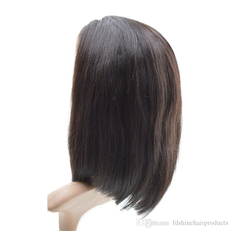 Glueless Natural Straight Bob Lace Front Wigs 150% Density Pre Plucked Mongolian Virgin Human Hair Wigs FDSHINE HAIR