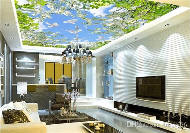 3d camera wallpaper personalizzato murale non tessuto adesivo da parete 3 d fiore giardino piccione cielo soffitto murale foto wallpaper pareti 3d