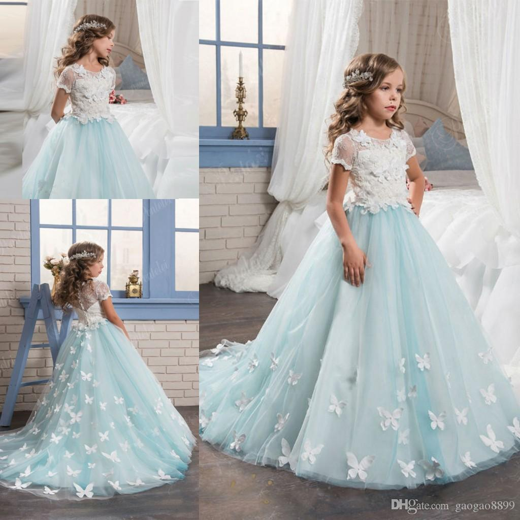 New Fashion High Quality Short Sleeves Flower Girl Dresses With ...