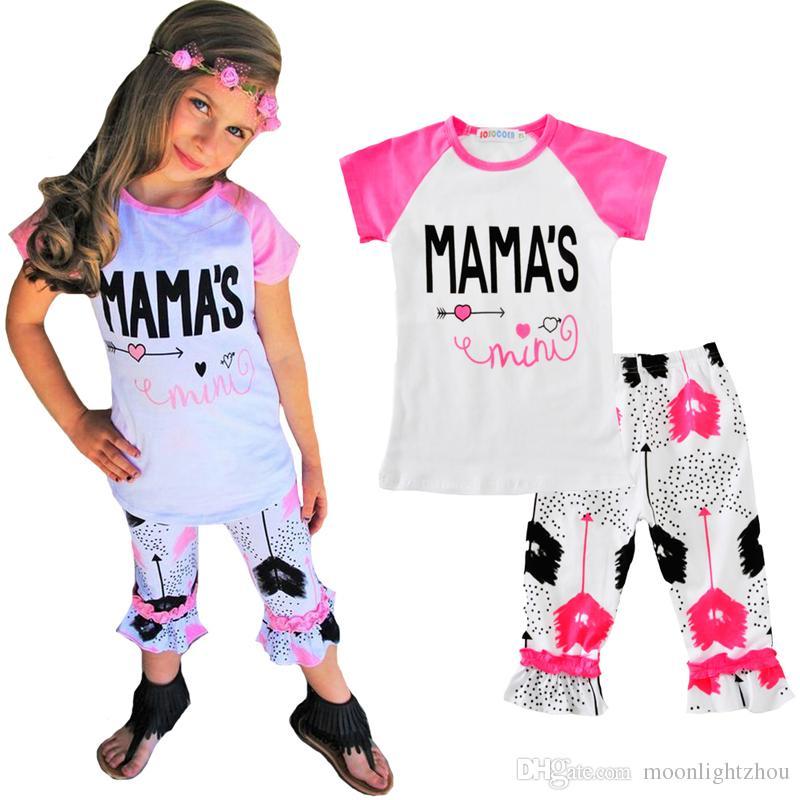 b9a9613a4fba Baby Girls Clothes Outfits Sets Arrow Heart T-shirts+Polka Dot Pants ...