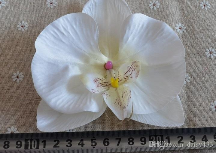 """Phalaenopsis Orchid Silk Flower Heads - 4.8"""" -Artificial Flowers Heads Supplies Wholesale for Wedding Make Bridal Hair Clips Headbands"""