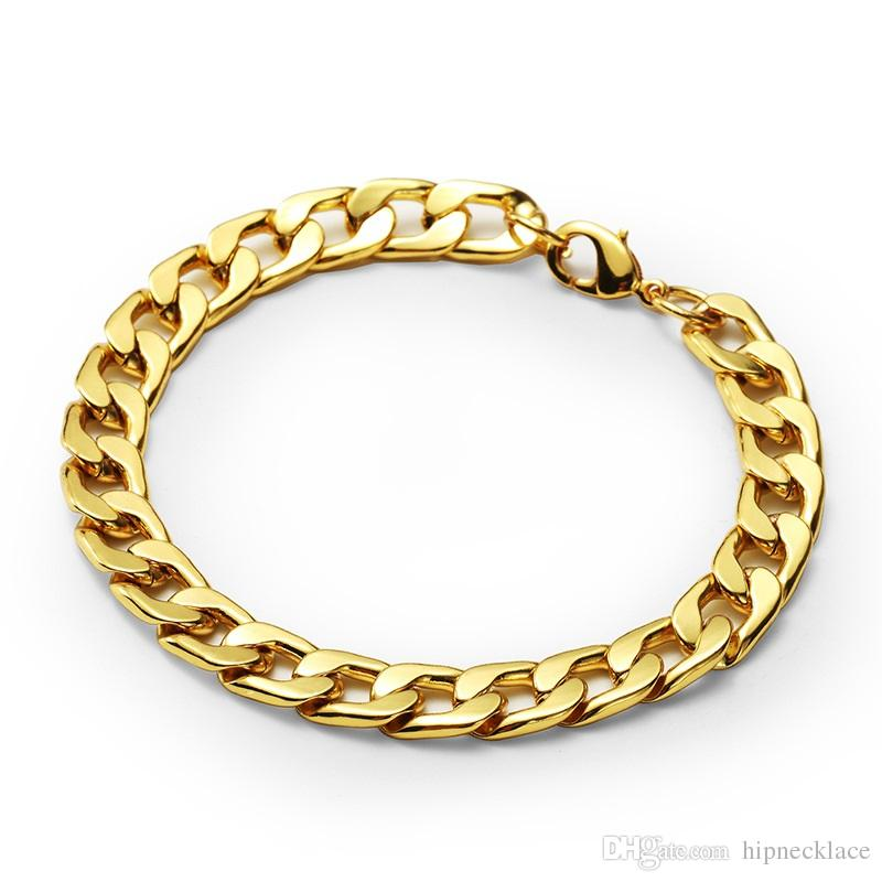 2019 Fashion Design Men Cuban Chain Bracelets Hip Hop Gold Color