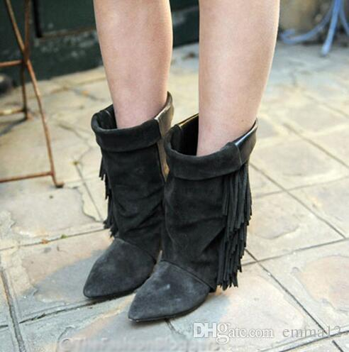 Top Quality Real Leather Superstar Fringe Shoes Woman Spike Heel Pumps Women Booties Black Grey Suede Wedge Ankle Boots Slip On