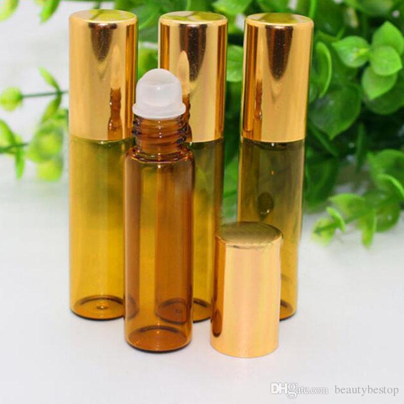 Hızlı Teslimat 5 ml Cam Rulo Boş Amber Cam Şişe Metal Rulo Topu Mini Parfüm Için Örnek Şişe Uçucu Yağ Şişeleri Satış