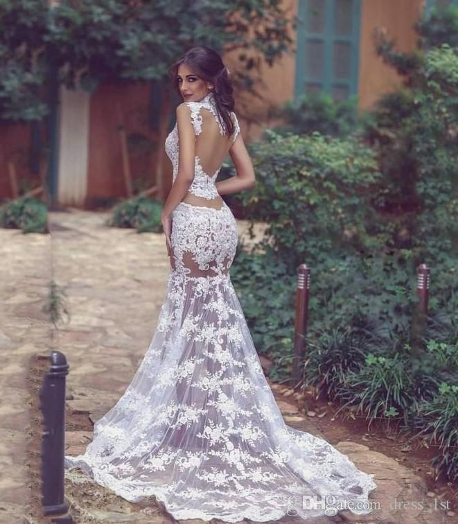 Summer 2020 Sexy Transparent Wedding Dresses High Neck Mermaid Lace Illusion Bodice Sheer Skirt Long Bridal Wedding First Night Dresses