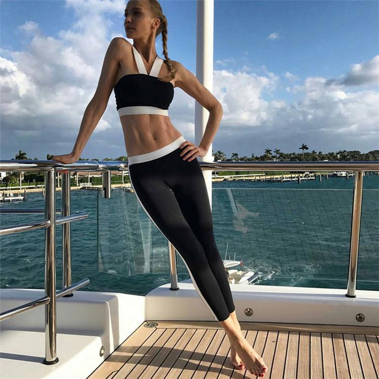 2017 female high elastic fitness gym weight loss yoga pants stitching Slim suits clothing jogging tracksuit for women sport suit HGE