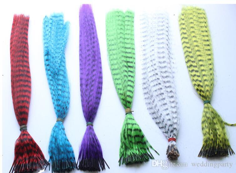 Colorful Length 16inch 40cm mix colors Synthetic Available Grizzly Loop Feather Hair Hairpiece