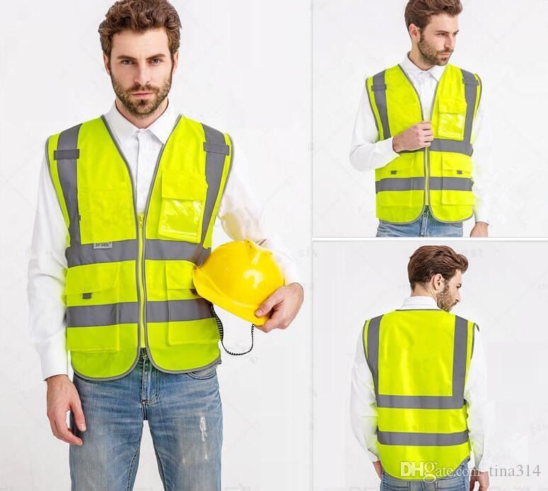 Alta visibilità Sicurezza sul lavoro Costruzione Gilet Attenzione Giubbotto riflettente da lavoro Giubbotto verde riflettente Sicurezza Abbigliamento Gilet da uomo BAB53