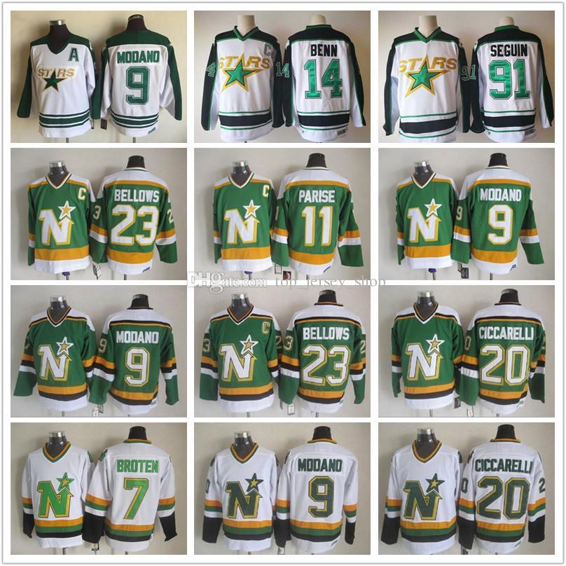 8b2f0e220d9 2019 Men Stitched Minnesota North Stars Dallas Tyler Seguin Bellows 11 JP  PARISE 9 Mike Modano 20 Dino Ciccarelli CCM Vintage Ice Hockey Jerseys From  ...