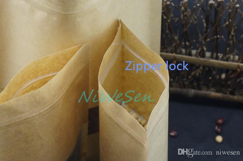 14 x 20 cm 100 teile / los X Brown Aufstehen Kraftpapier ZipLock taschen mit matte Klar fenster-recyclebar pack Lollipops / schokolade staubdicht beutel