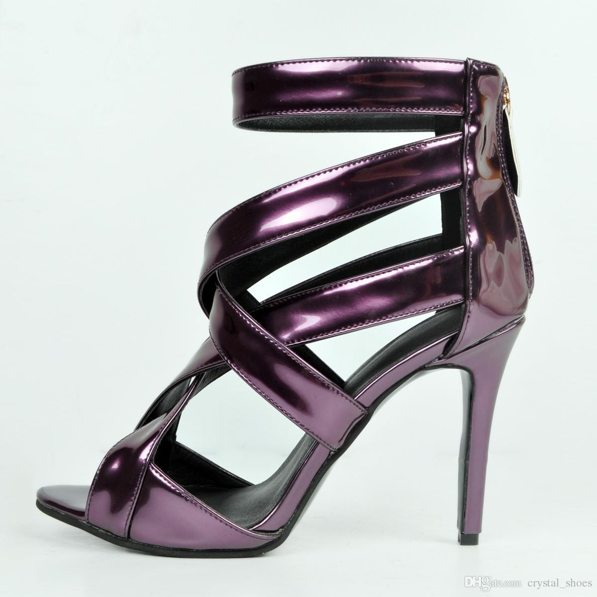 Elegant Purple Pu Shallow Party Pumps Women Fashions Thin High Heels Wedding Shoes Peep Toe Gladiator Sandals Zip Dress Shoes