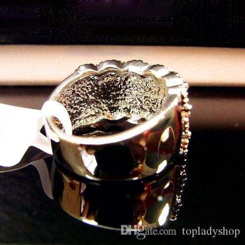 Lüks köpüklü tam kristal elmas yüzük genişliği kristal yüzük altın ve gümüş alaşım whoelsale ücretsiz kargo