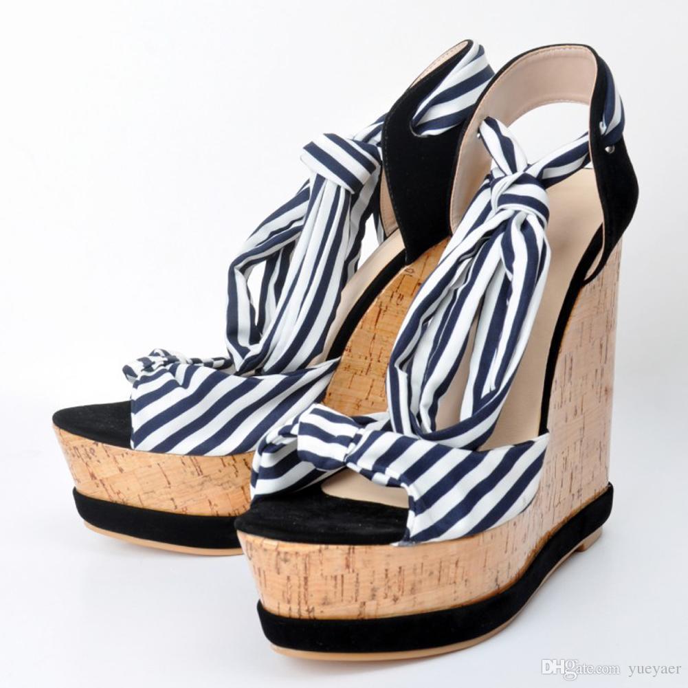 Zandina 여자의 수 제 패션 매듭 슬링 백 웨지 하이 힐 플랫폼 샌들 코트 파티 신발 블랙 XD205