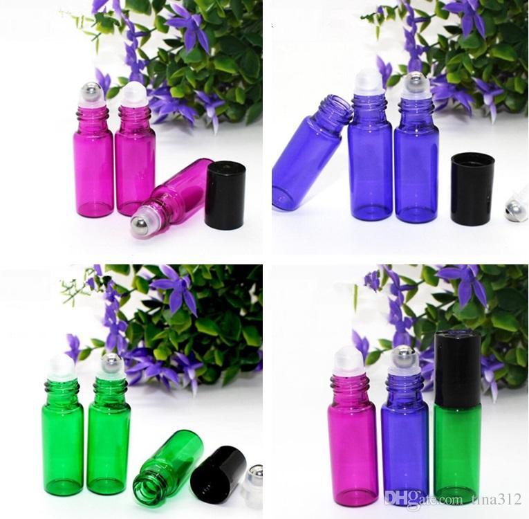 5 ML Bottiglia vuota Rotolo su bottiglie di vetro ambrate ROLLER IN ACCIAIO INOSSIDABILE Bottiglie di profumo colorato riutilizzabile Bottiglie di olio essenziale 3010-4