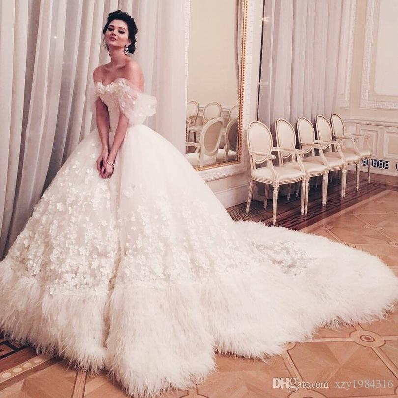 Feather Dressing Gown: Discount 2017 Latest Luxury Feather Bridal Dresses Off