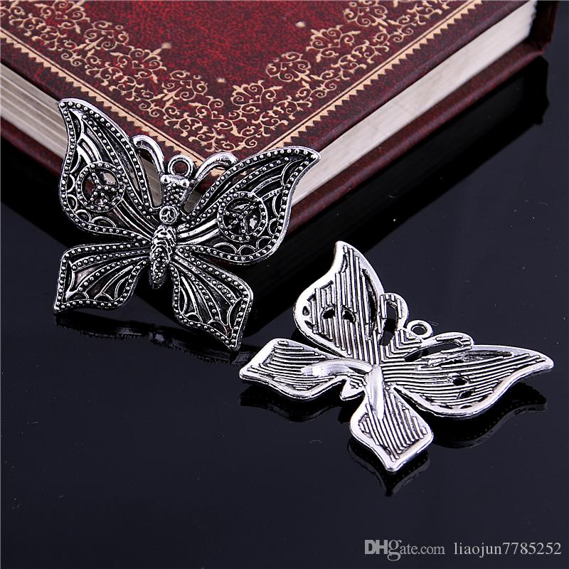Sweet Bell Min order 29*37MM Antique Silver Alloy peace Butterfly Charms Pendant Jewelry Findings D6115