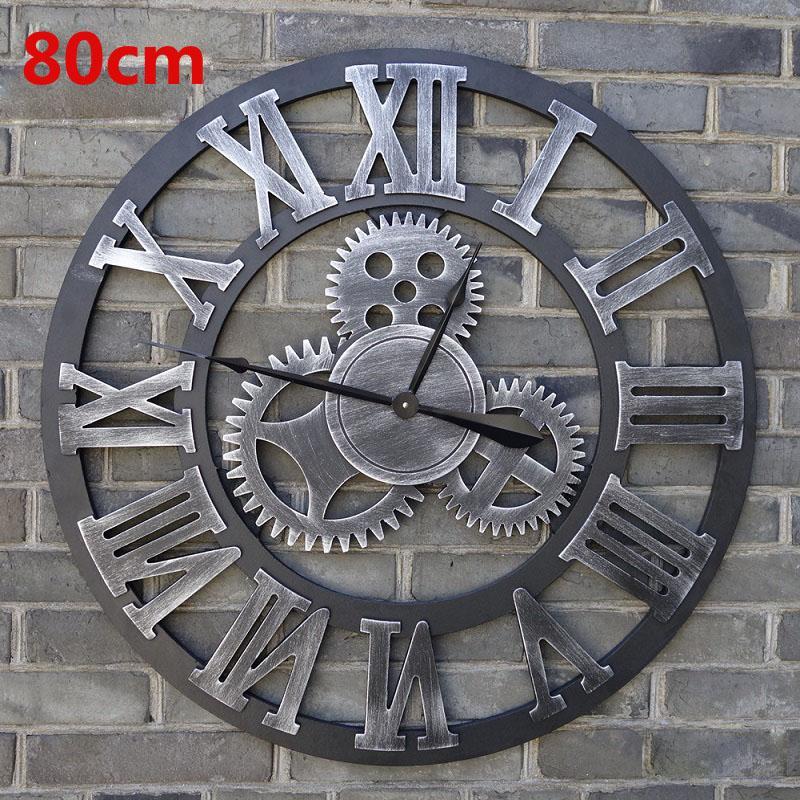 Wholesale Oversized Vintage Wall Clock 3d Gear Wall Clocks Wooden
