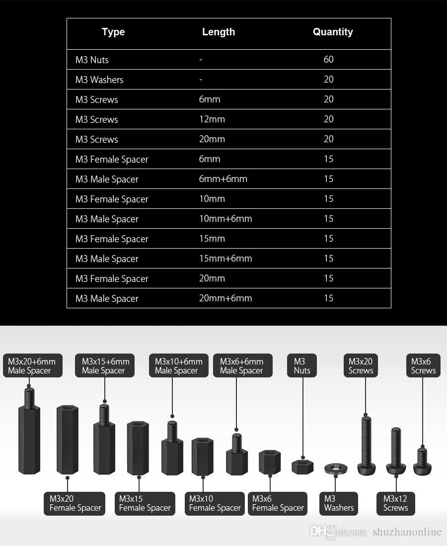 M3NH2 M3 Nylon Screw Black Hex Screw Nut Nylon PCB Standoff Assortment Kit
