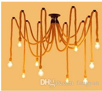 E27 Rope Drop Edison Bulbs Vintage Net Spider Chandeliers Ceiling Pendant Creative Bar Lamp DIY Cafe Fairy lights weave wire