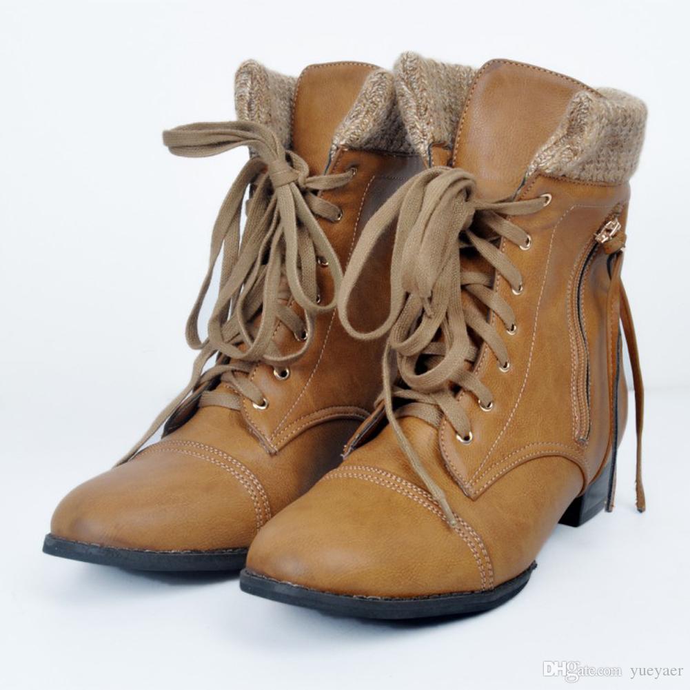 Zandina Hotsale Femmes À La Main Bottes De Mode à Lacets À Bas Talon D'hiver Bottines D'hiver De Style Euro Chaussures Brun XD140