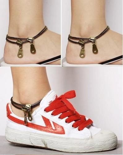 Women Ankle Chain Vintage Punk Metal Jewelry Unique Zipper Design Anklet Bracelet Ladies Accessories Womens Jewelry