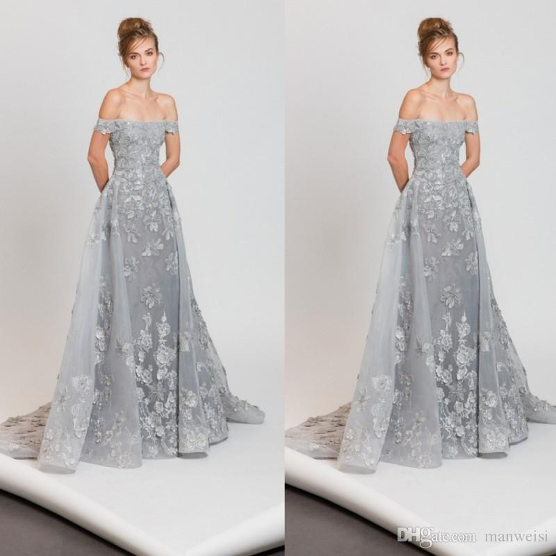 757604b28fd66 Off The Shoulder Silver Prom Dresses Tony Ward 2017 Lace Applique A Line Evening  Gowns Sexy Illusion Bodice Tulle Formal Dress High Street Prom Dresses ...