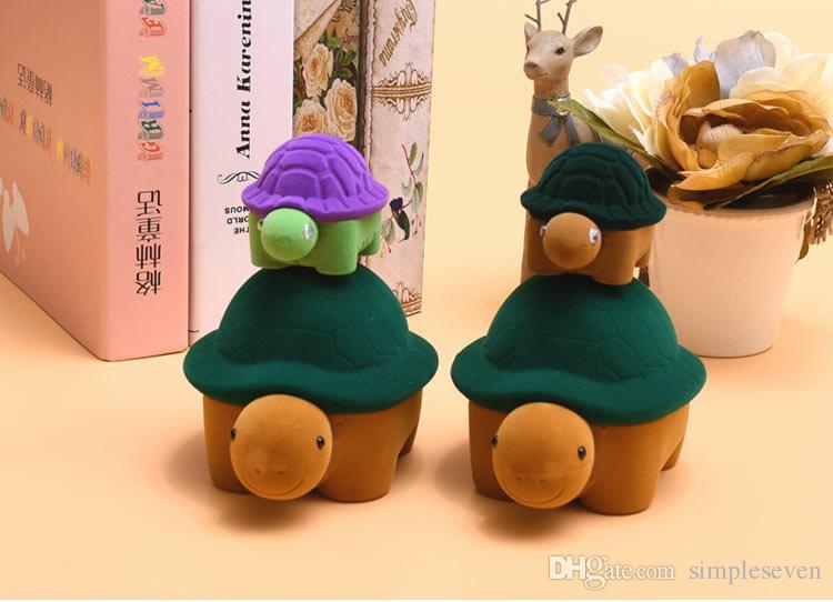 [Simple Seven] Cute Big Turtles Ring Box Kunststoff Beflockung Display Schmuckschatulle Anhänger Velvet Cases Halskette Fall Für Geschenk Große Größe