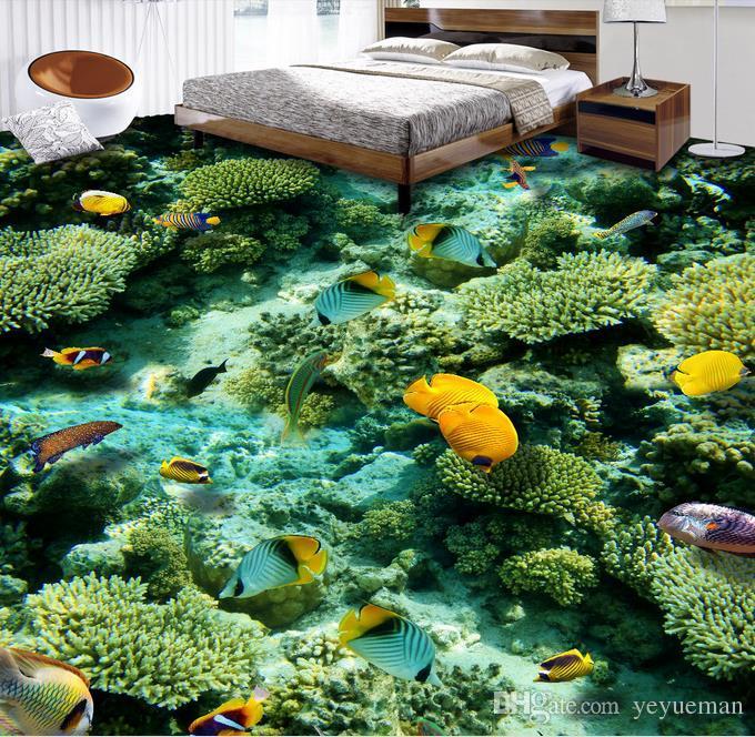 PVC-Boden 3d wasserdichte selbstklebende Tapete anpassen hochwertige Tapete Ocean World 3d Boden Tapete